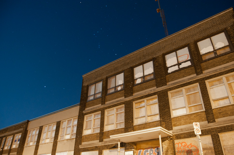Orion the Hunter over an abandoned sanatorium on the west mountain of Hamilton, Ontario.