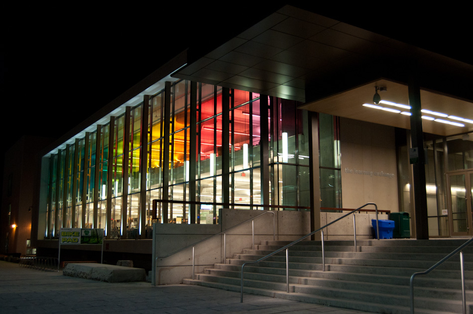 One of the newer buildings on the Mohawk Campus, the front-facing window features all the colors of the spectrum.