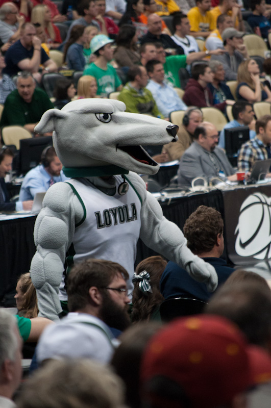 The Loyola (MD) Greyhound mascot, who looks like he is on some sort of illegal substance; March 15, Pittsburgh.