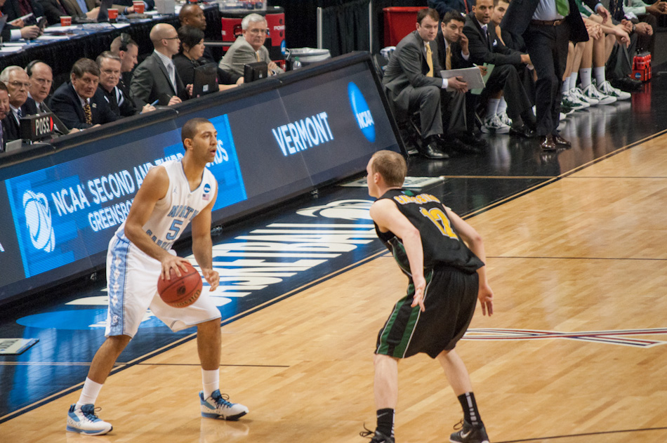 North Carolina Tar Heels guard Kendall Marshall surveys the offensive end, during second round action in Greensboro, March 16.