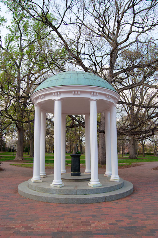 The Old Well on the grounds of UNC Chapel Hill, modeled after the Temple of Love in the Palace of Versailles. The Old Well is such a recognized symbol of UNC that the university logo uses a stylized image of it.