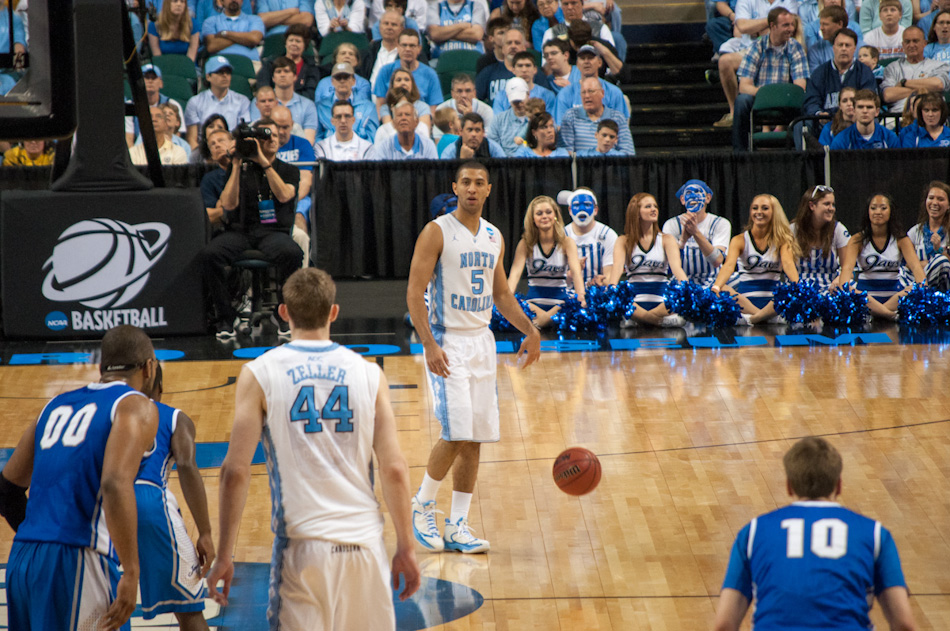Kendall Marshall (5) surveys the offensive zone as Tyler Zeller (44) and Creighton players look on during third round action in Greensboro, March 18.