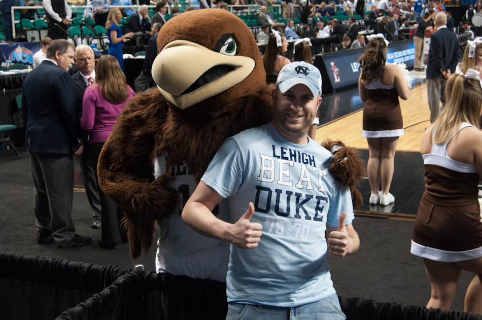 While visiting Chapel Hill the day after #15 seed Lehigh University knocked off #2 Duke, we discovered a shop that was selling these shirts for $20. Taking a picture with the Lehigh mascot while wearing it, that was a given.