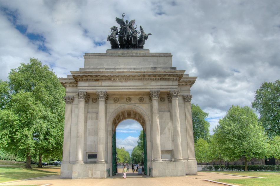 The Wellington Arch sits west of Buckingham Palace and adjacent to the Palace Gardens. Built on Constitution Hill - which is why it was originally known as the Constitution Arch or the Green Park Arch - the Arch celebrates Britain