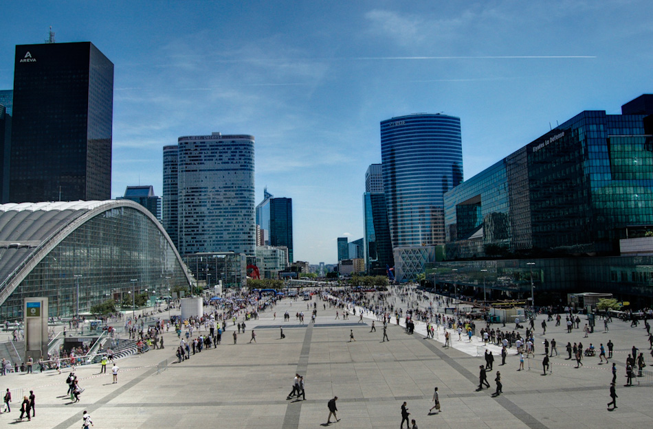 Shot in HDR, this is taken from the opposite vantage point as the previous photo. Taken at La Grande Arch, the Arc de Triomphe can be seen at image centre, in the distance. The La Defense district is the new heart of Paris, combining its financial district with many of Paris