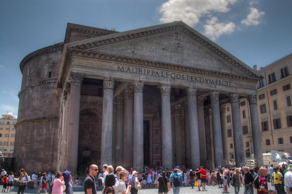 The Pantheon in Rome, seen here in HDR, contain large circular Corinthian columns, with a central oculus to the sky. Rebuilt in 126 AD by Emperor Hadrian, the dome of the Pantheon is still the world's largest unreinforced concrete dome.