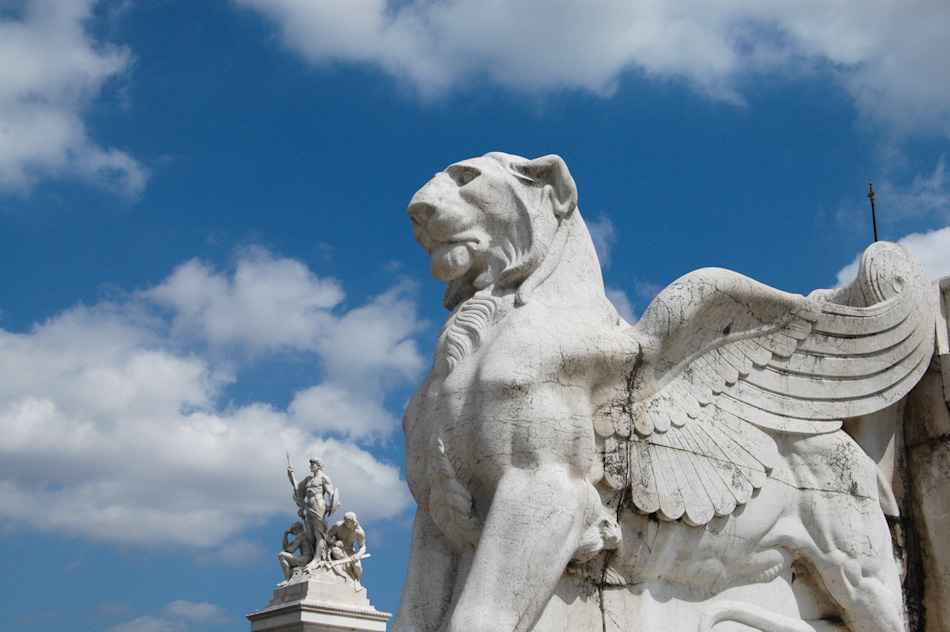 The monument to Victor Emmanuel II, the last king of Italy, dominates the surrounding area of central Rome. Here, a closeup of one of the gryphons can be seen.