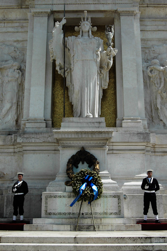The Tomb of the Unknown Soldier, at the Victor Emmanuel II monument in Rome, Italy. With guards on perpetual watch, the eternal flame burns for all those unidentified soldiers lost in World War I.