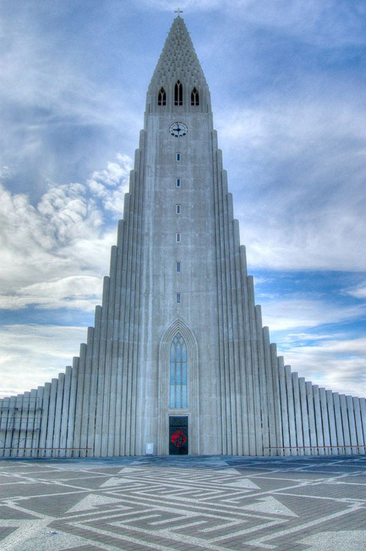 The tallest building in Reykjavik by far, the architecture of Hallgrimskirkja is amazing from any angle. The cathedral was completed in 1986, after four decades of construction. Shot as an HDR, this shot shows the iconic bell tower, with a hint of the sprawling wings. At 244 feet, climbing the bell tower can result in some frigid winds at the top, as my wife and I discovered – the 5°C temperature at ground-level didn't help either.
