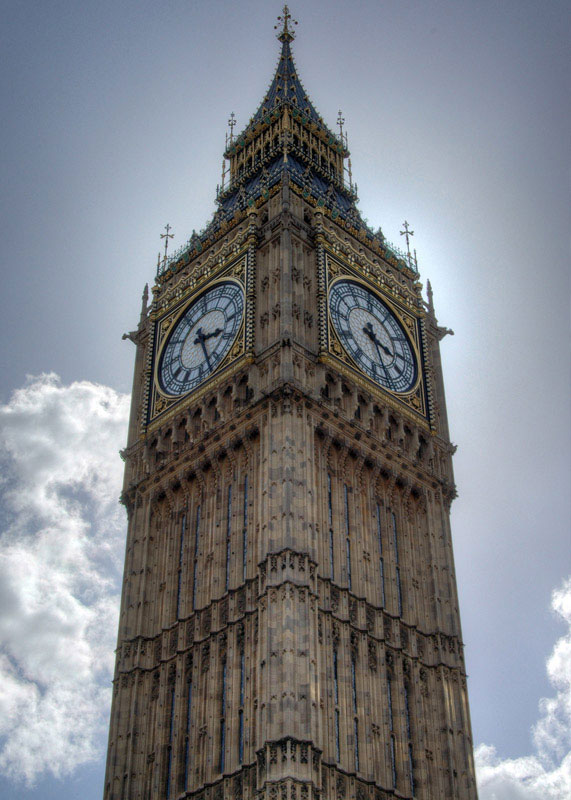 Big Ben, seen here, is the nickname of the clock tower that sits at the north end of Palace of Westminster, home of British Parliament. The four-faced clock was completed in 1858 and was an integral part of the reconstruction of the Palace after it was largely destroyed by fire in 1834.