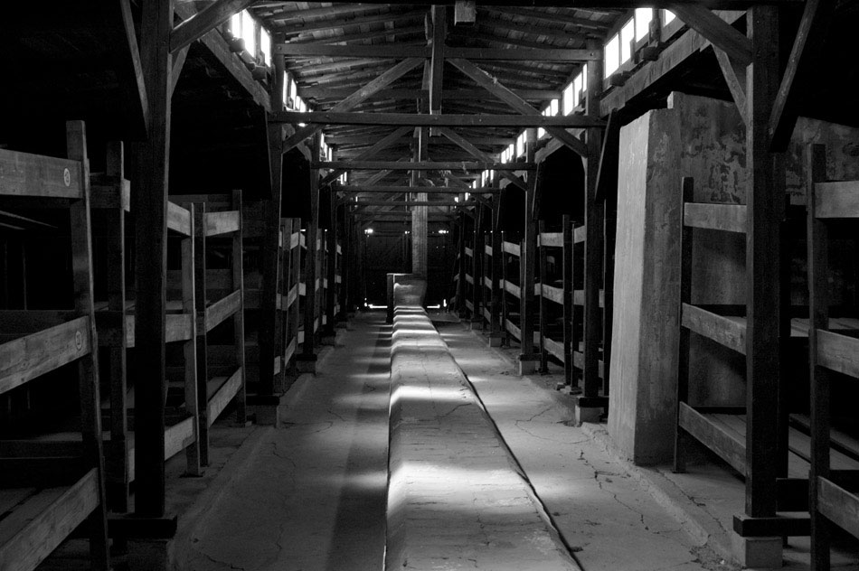 Overcrowding in the Concentration Camps was commonplace, with up to 1,000 people forced to live in buildings like this one. Originally created as cattle barns, once the numbers of Auschwitz II blossomed to capacity and beyond, these buildings were converted to include the bunks you see above.