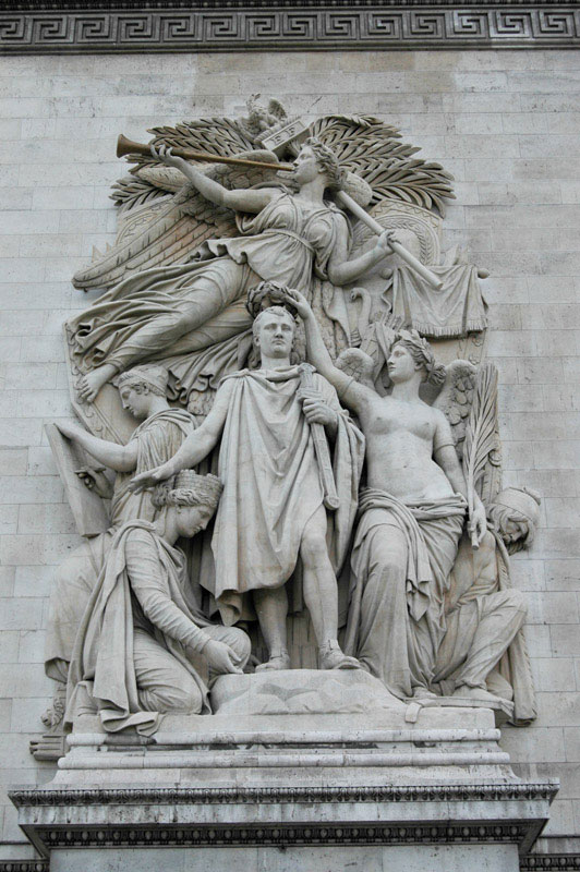 "The east-facing façade, northern half of the Arc de Triomphe, one of the most famous landmarks in Paris, France. Representing ""Le Triomphe de 1810″, the sculpture depicts the crowning of Napoleon I as Emperor of France."