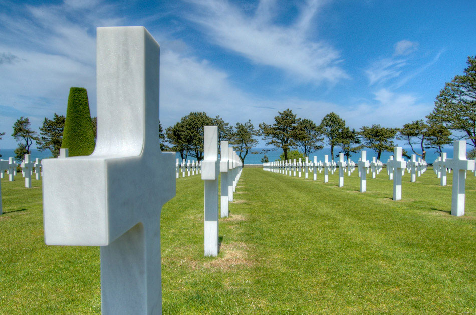 Visiting the American cemetary at Utah Beach was one of my higher priorities on this trip. To visit the final resting place of those who sacrificied their lives to liberate a continent they had likely never set foot on is one of the highlights of this trip for me, second only to visiting the Canadian cemetary at Juno Beach. The American cemetary itself is spectacularly maintained; the grass is trimmed, the trees are kempt and each grave marker is free of debris and discoloration. Shot in HDR, the above image gives a view down one of the rows of crosses, with the Atlantic Ocean in the background.