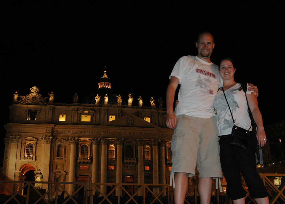 Jamie and I, with the seat of Catholic power, St. Peter's Basilica, in the background. This self-shot was only possible because of a bendable tripod that I purchased on a whim for $5, while in Venice. The Basilica, built over 120 years between 1506 and 1626, is an iconic feature of the Roman skyline. The gates just behind us in this photograph, are there to contain seating when Pope Benedict XVI gives mass.