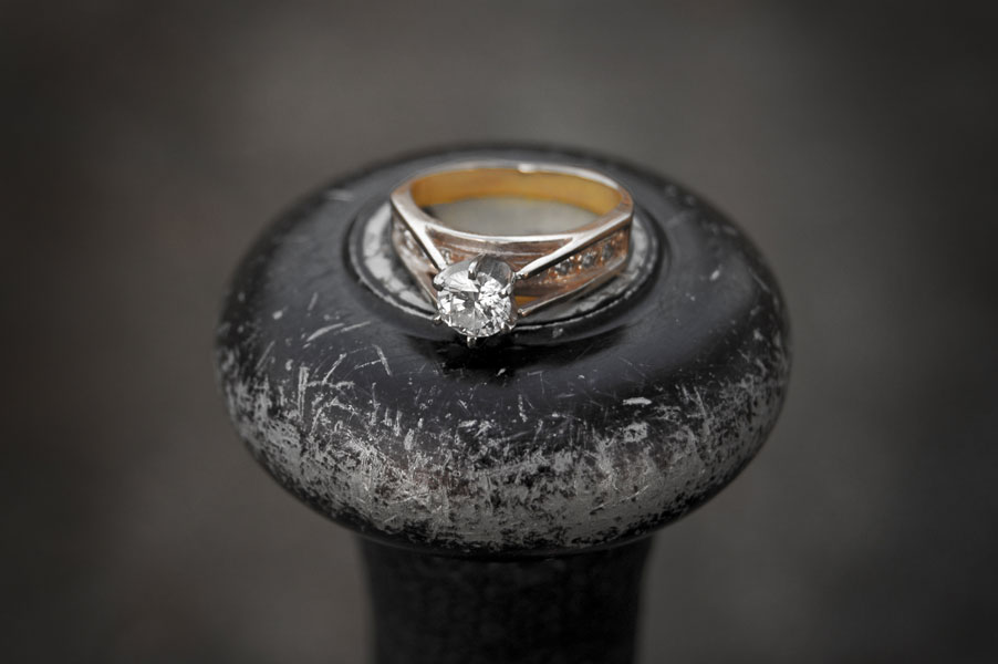 The ring from a different angle on the baseball bat.