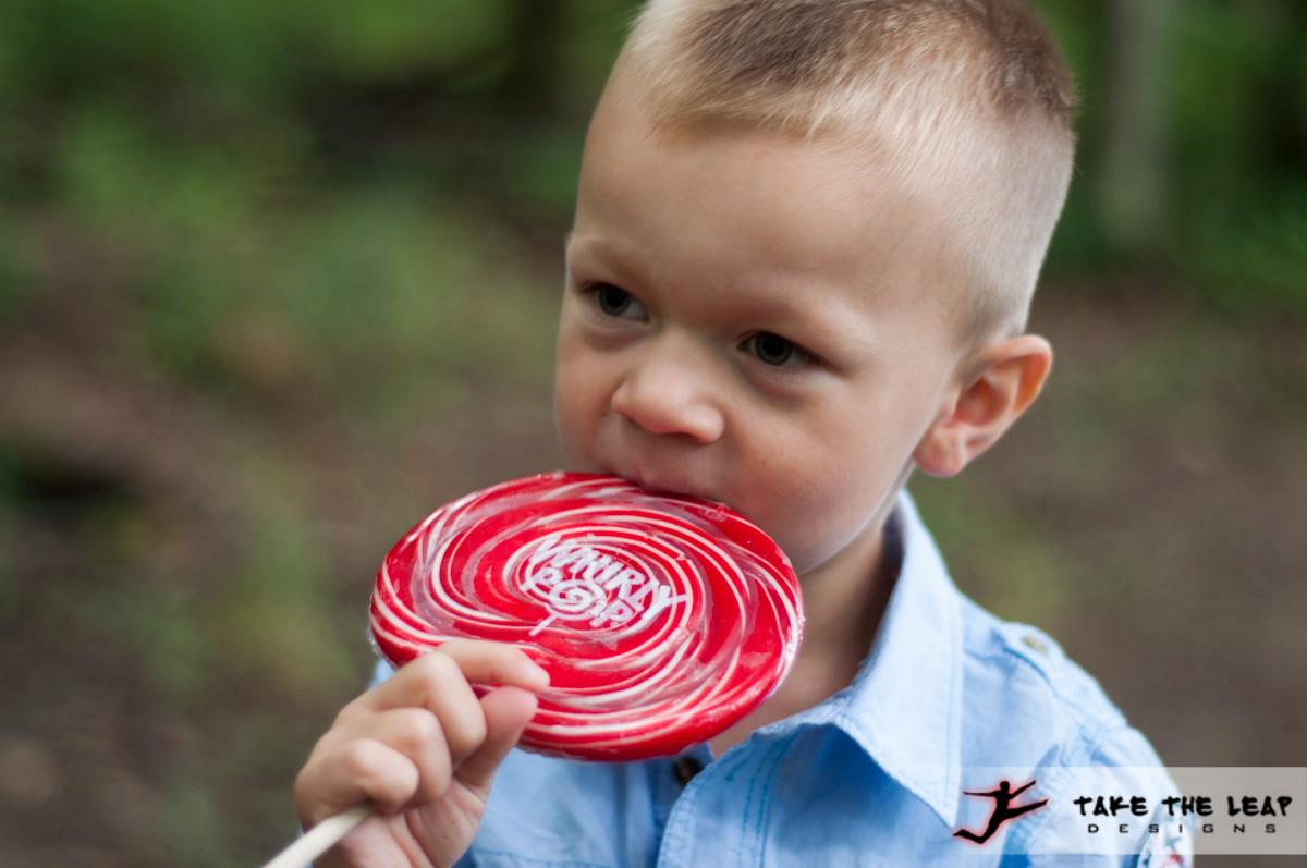 Grayson with his giant lollipop.