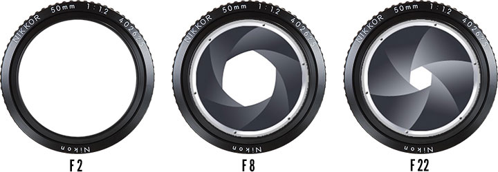 On the far left is the largest aperture opening, letting in the most light. On the far right, the smallest aperture opening. The numbers at the bottom are what appear on your camera display (e.g. F 22).