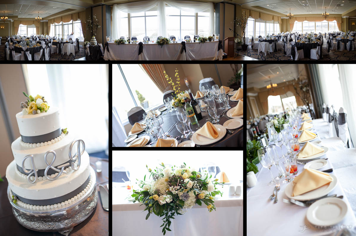 The reception hall setup: a panoramic of the entire hall at the top, with elements along the bottom.
