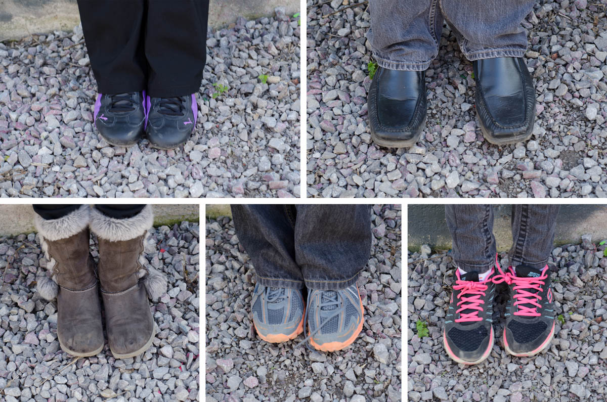 The shoes of the entire family, from top-left: Shannon, Scott, Rachel, Cooper, Bella.