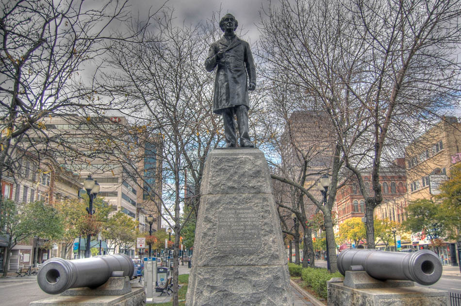 The first statue of Sir John A Macdonald in Canada was erected in downtown Hamilton, Ontario, in what is now known as Gore Park.